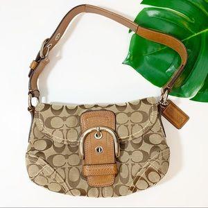 COACH Soho Shoulder Bag Signature Purse Flap Brown